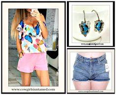 WILDFLOWER TOP Colorful Butterflies Pink Cami Tank Top Blouse/ Rhinestone Butterfly Earrings/ FREE PEOPLE Shorts  #butterfly #butterflies #top #shirt #blouse #camisole #tanktop #shorts #FREEPEOPLE #ruffle #jean #denim #distressed #cutoffs #highwaist #jewelry #rhinestone #earrings #wholesale #cowgirl #gypsy #fashionista #fashion #aqua #style #onlineshopping #pink #womens #clothing