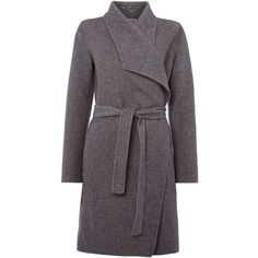 Part Two Timeless Belted Wool Coat ($380) ❤ liked on Polyvore featuring outerwear, coats, grey, women, belted wool coat, grey coat, woolen coat, belted cape coat and gray wool coat