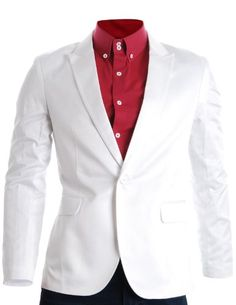 FLATSEVEN Mens Slim Fit Stylish Peaked Lapel Blazer Jacket White, M (Chest 40) FLATSEVEN http://www.amazon.com/dp/B00FKQ2Y6C/ref=cm_sw_r_pi_dp_g2e5ub0CXS54M #FLATSEVEN #Mens #SlimFit #Stylish #Blazer #Casual