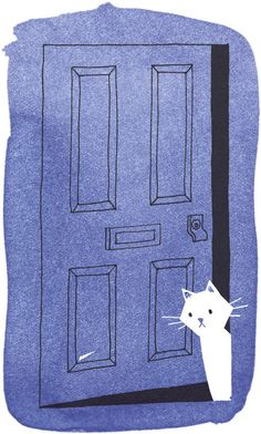 White cat peeking out of a blue door - love the simple design - Lisa Jones…