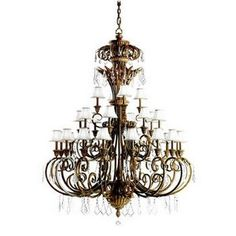 Ravenna 28LT 3-Tier Chandelier Ravenna Finish with Eggshell Fabric Shades and Clear Crystal Accents
