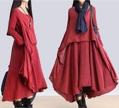Long sleeve loose linen dress cotton linen dress plus size dress casual topcoat