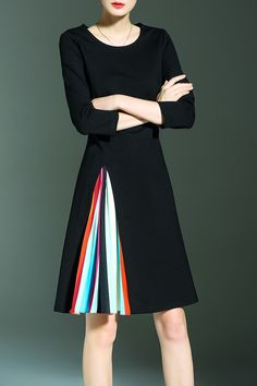 Colorful Pleated A Line Dress
