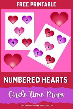 Add this Valentine's Day counting printable to your circle time to build simple math skills. Keep toddlers and preschoolers engaged while reading books and singing songs! #valentines #counting #numbers #circletime #hearts #printable #props #toddlers #preschool #2yearolds #3yearolds #teaching2and3yearolds Preschool Themes, Toddler Preschool, Preschool Activities, Preschool Class, Counting Books, Counting Activities, Valentine Theme, Valentines Day, Toddler Circle Time