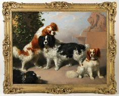 """""""Portrait of Mr. James Sandiland's King Charles Spaniels"""" -    Canvas: 33 x 44"""" Framed: 42 x 52"""" - Oil on Canvas  Artist: James Williams Giles (Scottish, 1801-1870)  Signed and Dated Lower Right """"J Giles 1842"""""""