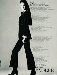 1966 - YSL tuxedo by Irving Penn for Vogue Vintage Ysl, Vintage Fashion, Yves Saint Laurent, Le Smoking, Irving Penn, Sixties Fashion, Rive Gauche, Comme Des Garcons, Fashion Photography