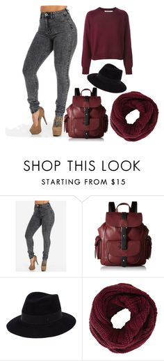 """""""rock the burgandy"""" by rozns17 on Polyvore featuring Kenneth Cole Reaction, Maison Michel and BCBGMAXAZRIA"""