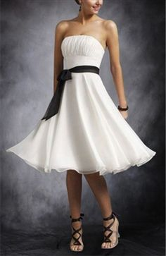 Strapless Empire Waist Cocktail Dress With Sash - Outerdress.com in turquoise and black