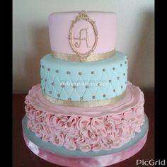 Blue, pink and gold cake. Vintage cake. Baptism cake
