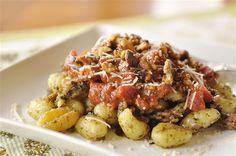 Roasted Tomato,Pesto and Sausage Gnocchi with Toasted Walnuts