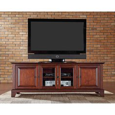 Crosley Furniture Newport 60 Inch Low Profile TV Stand In Vintage Mahogany