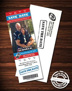 Custom Designed Event Ticket Save the Date Magnet - under $2.00 each #footballwedding #stwdotcom