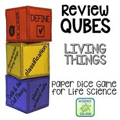 """Living Things"" Review Qubes for Life Science turn learning into a highly engaging and entertaining paper dice game! Topics include characteristics of living things, classification, prokaryotes, eukaryotes, microscopes, cells and the cell theory and more!"