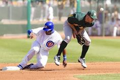 David DeJesus steals 2nd during today's Cubs vs. A's Cactus League opener
