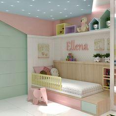 Arraste para a esquerda e veja a proposta da @fernaarouche.arquitetura para o quarto da menina
