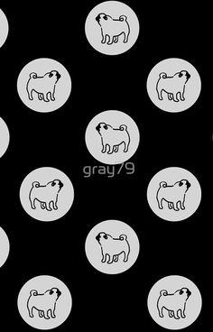 pug polka dot - grey