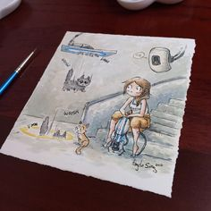 Infinite fall. Another piece for the Causeplay Shop featuring @_meaganmarie_ , Sprinkles, and Donut. #portal #valve #glados #chell #cats #testsubjects #watercolor #illustration #cosplay #charity #angelasongart