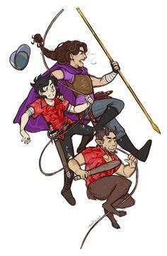 Team Statue (Reyna, Nico, and Coach Hedge) | art by smallnico #percyjackson #fanart #heroesofolympus
