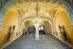 Hungarian Geological Institute entrance, Budapest, Hungary, architect: Ödön Lechner