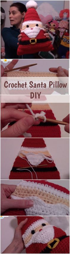 Learn how to make and crochet simple DIY Christmas Santa pillow by following this step by step tutorial of ideas with an easy video guide of handmade gifts! | Free Crochet Tutorials For Beginners | Beginners Crochet Video Tutorials Youtube | Crochet Stitches | Free Patterns | Free Projects & Ideas | Free Basic Stitches | Easy & Simple Video Tutorials | Top And Unique Stitches | Christmas amigurumi & applique & Decorations | Free Tags | Knitting Hats Scarves Sweater Cover Blanket Link…