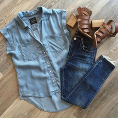 chambray top School Outfits, New Outfits, Summer Work Outfits, Spring Outfits, Casual Outfits, Dress Outfits, Cute Outfits, Fashion Outfits, Womens Fashion