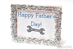 Simple Father's Day crafts for kids to make for dad! Nuts and bolts picture frame.