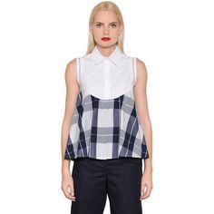 I'm Isola Marras Women Plaid Cotton Poplin Sleeveless Shirt featuring polyvore, women's fashion, clothing, tops, no sleeve shirt, cotton poplin shirt, sleeveless shirts, sleeveless button front shirt and plaid shirts