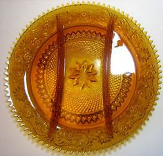 Tiara glass | Tiara Amber Sandwich Glass Divided Relish Plate | eBay