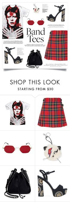"""""""I'm With the Band: Band T-Shirts"""" by alinepinkskirt ❤ liked on Polyvore featuring Christopher Kane, STELLA McCARTNEY, Valentino, Le Silla and H&M"""
