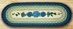Blue Hydrangea Blooms Oval Braided Jute Table Runner