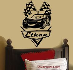 Race car nursery name for wall Disney Cars Room, Disney Rooms, Car Nursery, Nursery Art, Boy Car Room, Big Boy Bedrooms, Modern Bedrooms, Art For Sale Online, Car Themes