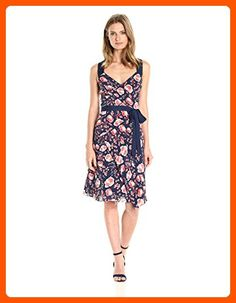 Adrianna Papell Women's Printed Fit and Flare Dress, Coral Multi, 10 - All about women (*Amazon Partner-Link)