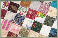 Patchwork Quilted Fabric Postcard by zizzybob on Etsy