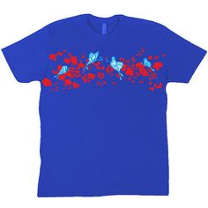 Butterflies and Blossom Hand Drawn Art Blue T-Shirt by RainbowPieClothing, £17.00