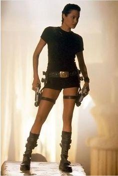 Angelina Jolie as Lara Croft in Tomb Raider.