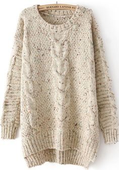 Beige Plain Irregular Long Sleeve Sweater