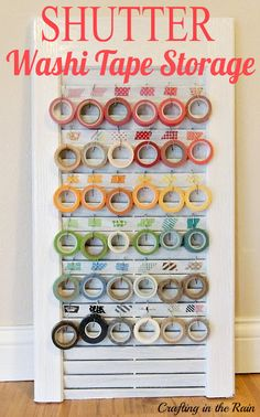 {Repurposed Shutter} turned {Craft Room Storage!} -- Perfect for Washi Tape!!!! -- (and I have a shutter like this!!)