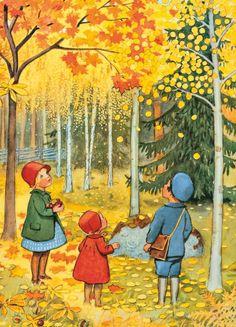 October Leaves by Elsa Beskow. love any books (or print) by Elsa Beskow Elsa Beskow, Art And Illustration, Illustration Children, Book Illustrations, Autumn Art, Autumn Leaves, Red Leaves, Autumn Trees, Vintage Children