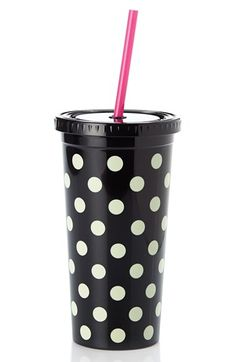 Gifts Under $20: Such a cute gift for your best friend or co-worker! Love this Kate Spade polka dot tumbler...