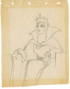 Evil Queen original production drawing from Snow White and the Seven Dwarfs