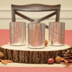 Faux Hammered Tin Luminaries