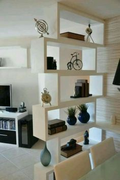 13 Best Simple Living Room Shelving Design Ideas For You - Home and Camper Living Room Partition Design, Room Partition Designs, Wood Partition, Deco Salon Design, Interior Design Living Room, Living Room Designs, Design Room, Wall Design, Design Design
