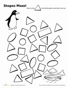 This penguin is waddling but he wants to swim! Help him find the hole in the ice. This maze is excellent practice in recognizing shapes for kids.