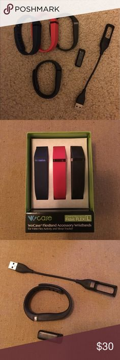Fitbit Flex Complete Fitbit Flex,  used but like new with 3 large bands 1 navy 1 red 1 black and 1 small original black band.  Includes charging cable.  All you need is to download the free app and get moving.  Fell free to ask questions... fitbit Accessories Watches