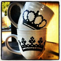King and Queen  His and Hers CoFfEe MuGs by JustNat on Etsy https://www.etsy.com/listing/106618166/king-and-queen-his-and-hers-coffee-mugs