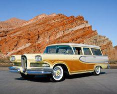 1958 Edsel Bermuda Woody Wagon, Yellow and Gray.