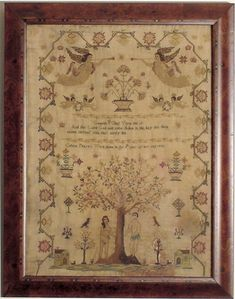 Celena Pearn, year of her age, 1826 Embroidery Sampler, Embroidery Ideas, Web 1, Cross Stitch Samplers, Adam And Eve, Anglo Saxon, Printed Linen, Yesterday And Today, Needlework