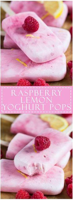Raspberry Lemon Greek Yoghurt Popsicles | marshasbakingaddiction.com…