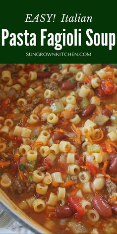 Pasta Fagioli Soup Recipe, Pasta Soup, Pasta Dishes, Food Dishes, Healthy Soup Recipes, Cooking Recipes, Beef Soup Recipes, Kitchen Recipes, Pasta Recipes