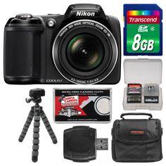 Nikon Coolpix HD VR L330 Digital Camera Kit 26x Zoom Black USA #Nikon